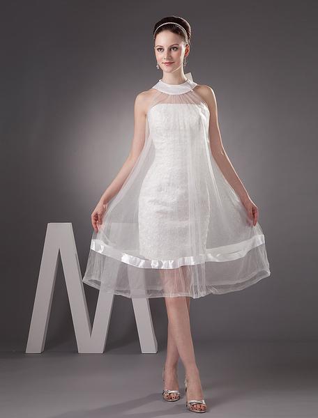 Ivory Fashion Net Round Neck Mermaid Trumpet Mini Wedding Dress фото