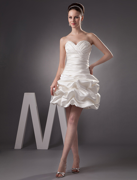 Short Wedding Dress Satin Sweatheart Bridal Dress Ivory Ruched Strapless Mini Bridal Gown