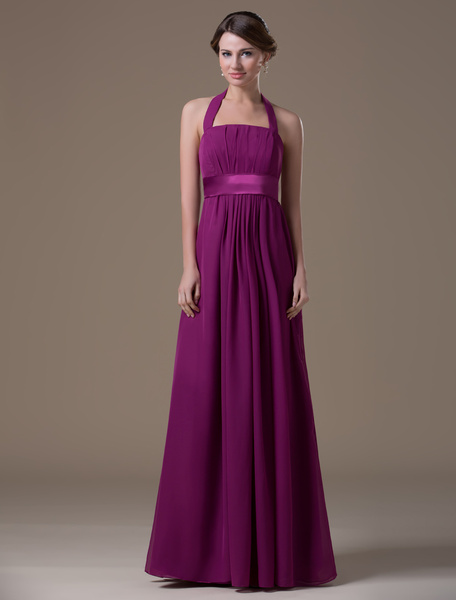 Maternity Bridesmaid Dress Magenta Halter Chiffon A line Floor Length Prom Dress фото