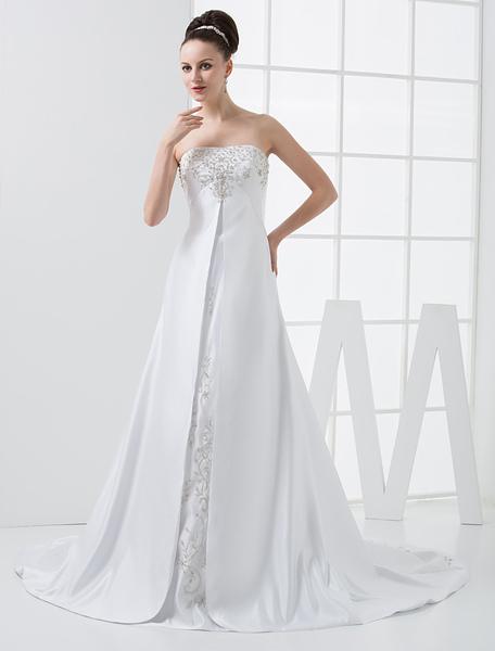 White A-line Empire Waist Strapless Beaded Satin Wedding Dress фото