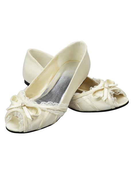 Ivory Bow Chunky Heel Peep Toe Wedding Sandals фото
