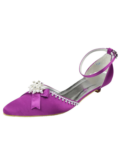Mother Of The Bride Shoes Purple Pointed Toe Pearls Satin Bridal Wedding Shoes фото