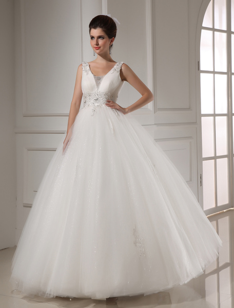 White Ball Gown Beading Tulle Bridal Wedding Dress фото