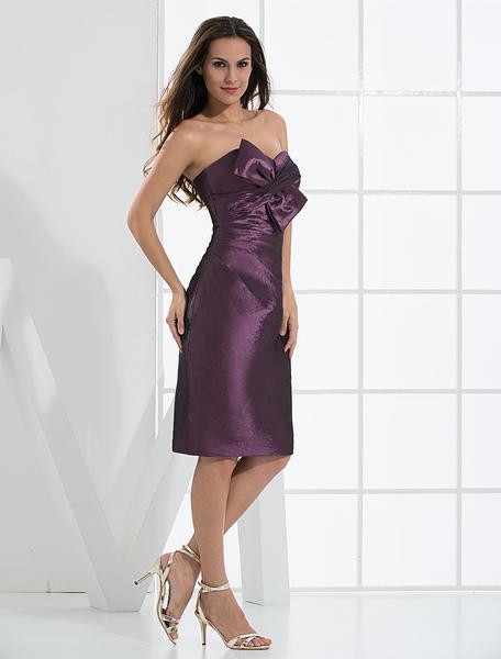 Knee Length Strapless Satin Taffeta Summer Prom Homecoming Dress