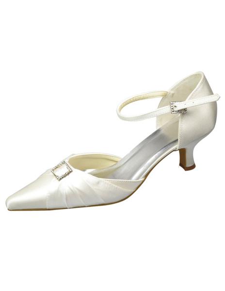 Pointed Toe White Satin Bridal Wedding Shoes