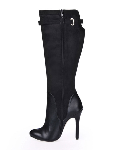 Vintage Black Spike Heel Buckle Stretch Satin Sanding Knee Length Boots for Women фото
