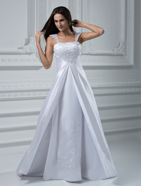 White A-line Embroidery Satin Wedding Dress фото