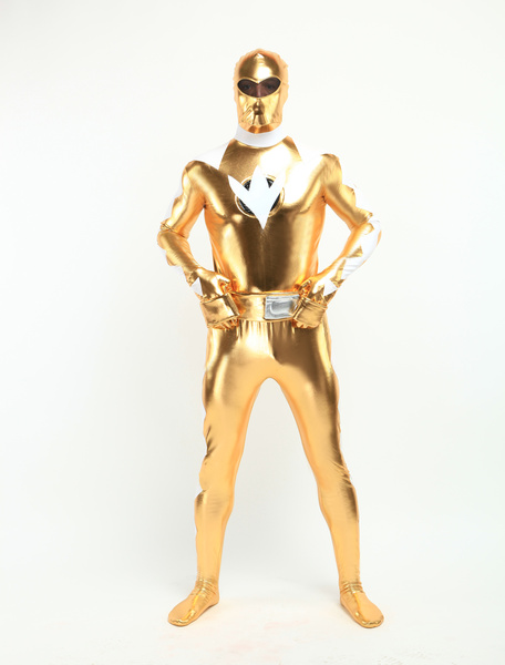 Halloween Gold And White Shiny Metallic Super Hero Zentai Suit