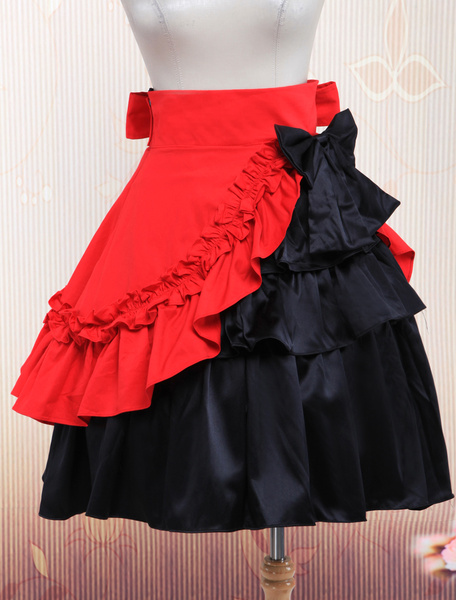 Cotton Black And Red Ruffles Lolita Skirt фото