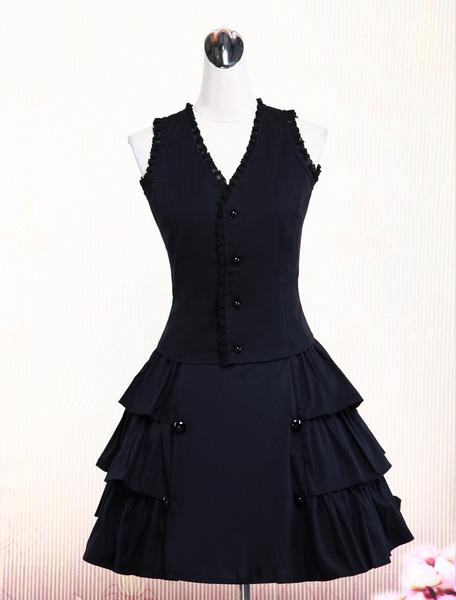Cotone Nero Gorgeous Lolita Vest e Skirt Outfits Ruffles Lace Trim