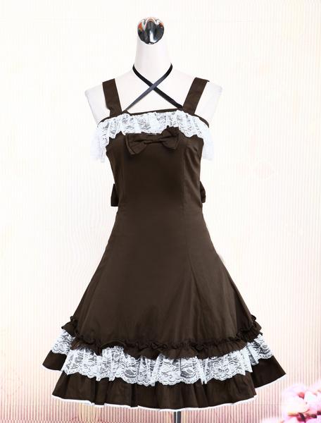 Brown Lace Bow Cotton Classic Lolita Dress фото