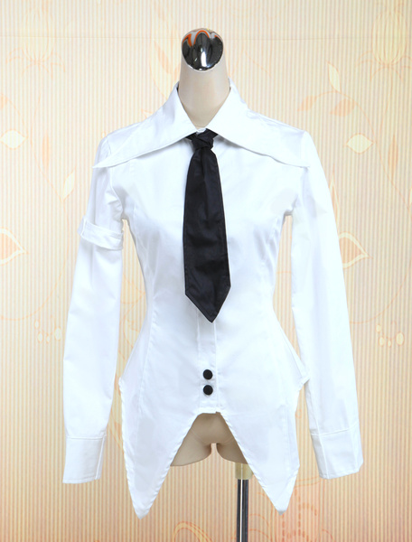 White Cotton Lolita Blouse with Black Tie Long Sleeves Sharp Front Trim фото