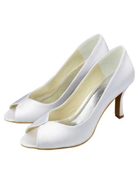 White Satin Peep Toe Wedding Bridal Heel Shoes