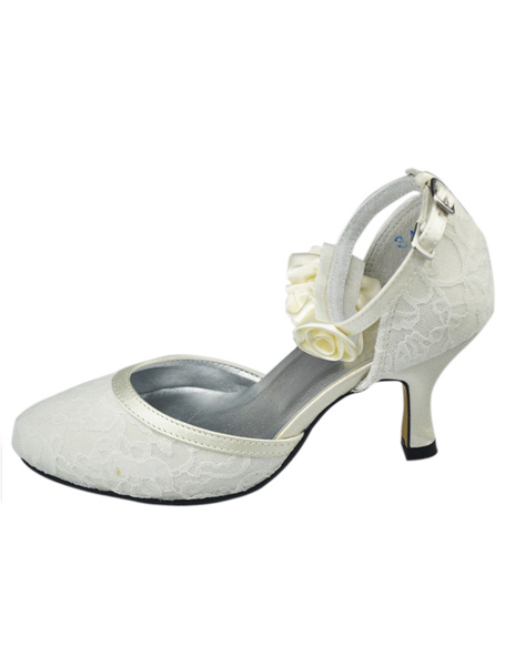 White Flower Ankle Strap Lace Bridal Shoes фото