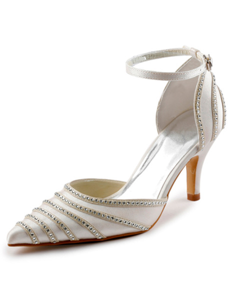 Elegant Rhinestone Pointed Toe Satin Wedding Sandals
