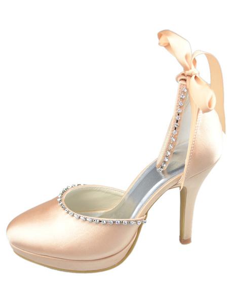 Champagne Rhinestone Ankle Strap Bow Satin Wedding Sandals