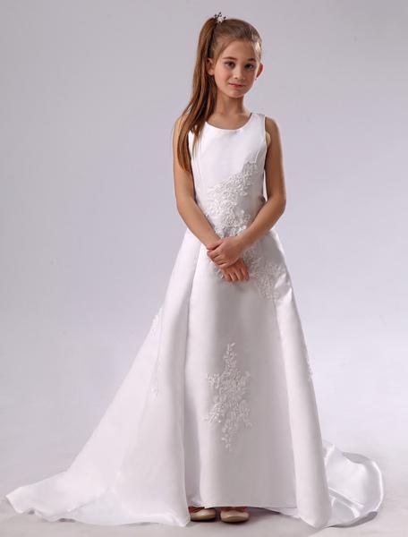 Weiße Blume Mädchen Kleid Applique Satin Reißverschluss Kleid