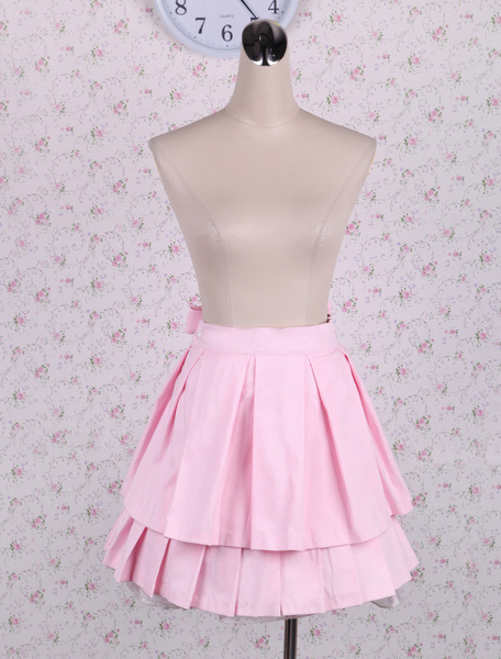 Cotton Pink Bow Pleated Lolita Skirt фото
