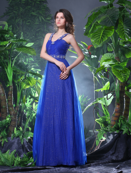 Ball Gown Royal Blue Sweetheart Neck Tulle Backless Prom Dress Milanoo фото