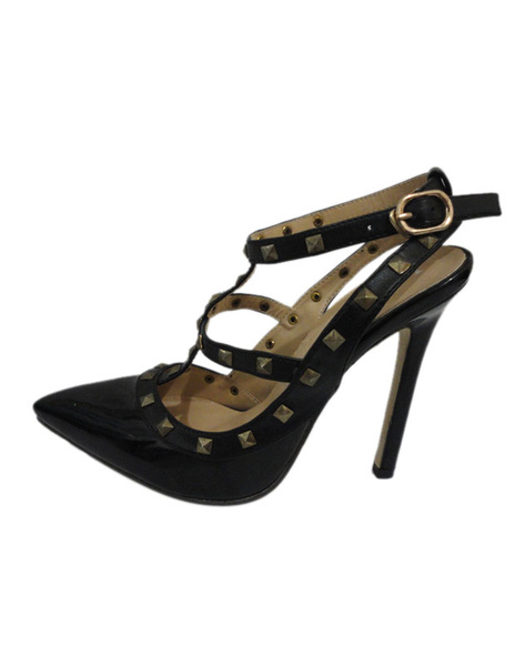 Black PU Leather Studded T-Strap Pointed Toe Fashion Dress Sandals фото