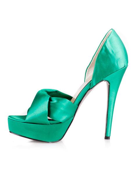 Elegant Green 5 1/2'' Heel 1 1/5'' Platform Satin Womens Heels