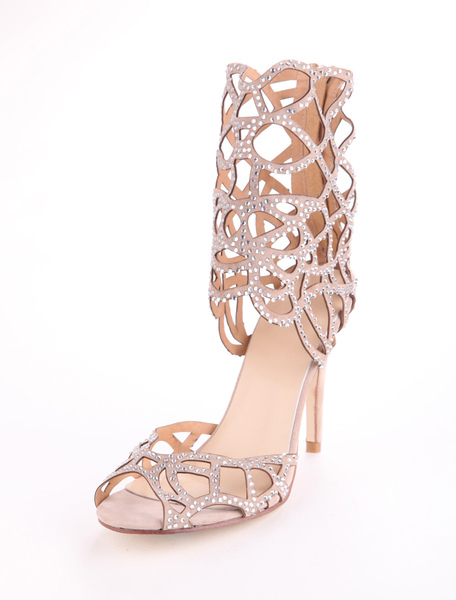 Sheepskin Suede Rhinestone Gladiator Shoes фото