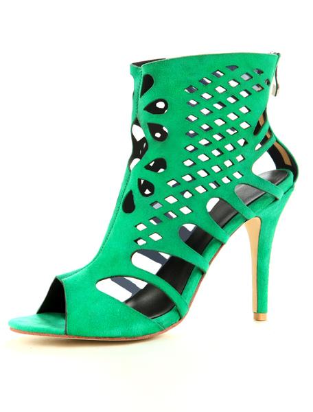 Green Suede High Heel Booties With Zipper фото