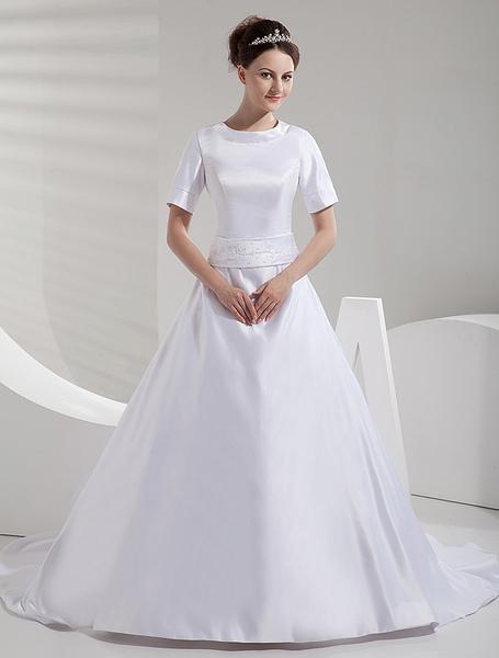 A-line Court Train White Bride's Wedding Dress with Jewel Neck Sash фото