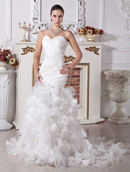 Luxury Ivory Satin Organza Sweet Heart Mermaid Trumpet Wedding Dress фото