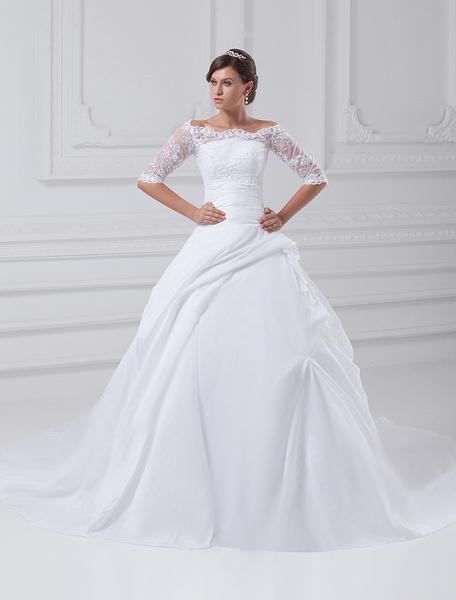 White Ball Gown Strapless Beading Taffeta Bridal Wedding Gown фото