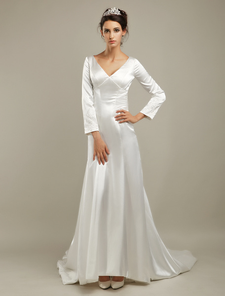 Court Train Ivory Bridal Wedding Dress with V-Neck A-line Beading фото