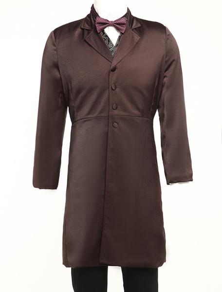 Men's Vintage Costume Rococo Deep Brown Coat Retro Overcoat Milanoo
