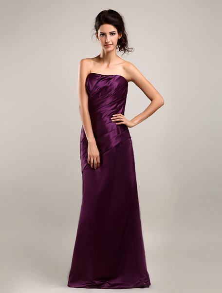 Satin Strapless Floor Length Bridesmaid Dress, Plum