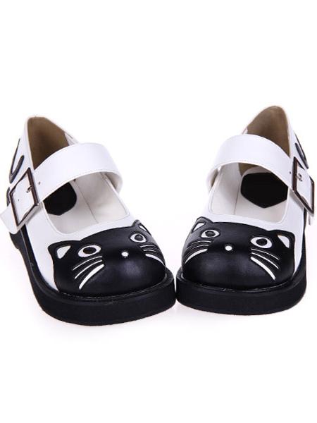 Sweet Lolita Heels Black And White Kitty Pu Lolita Shoes
