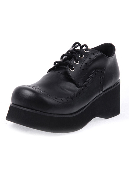 Round Toe Laced Up PU Leather Black High( 3-3.9) Lolita Shoes фото
