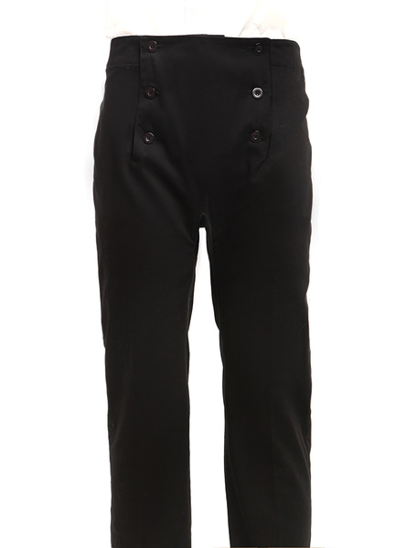 Men's Vintage Costume Victorian Black High Waist Retro Trousers фото