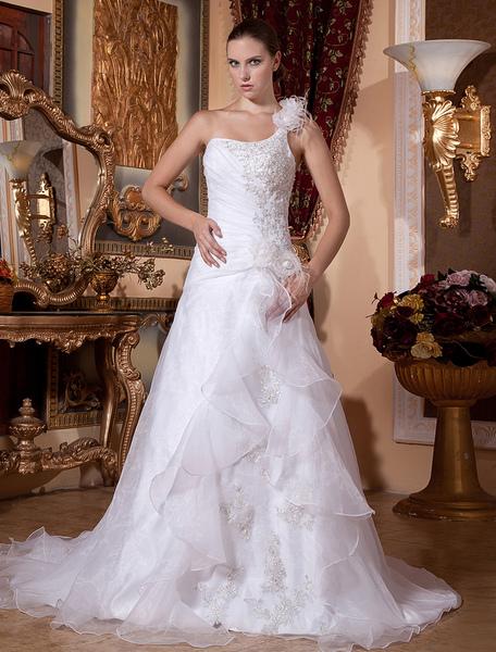 White Rococo A-line One-Shoulder Organza Beading Bridal Wedding Dress