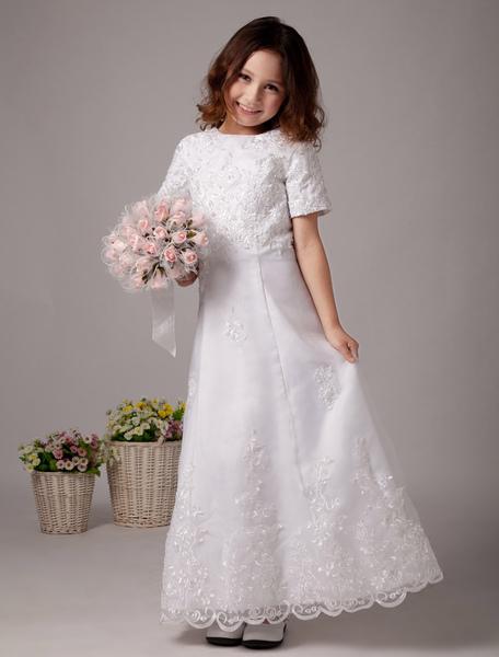 White Short Sleeves Satin First Communion Dress фото