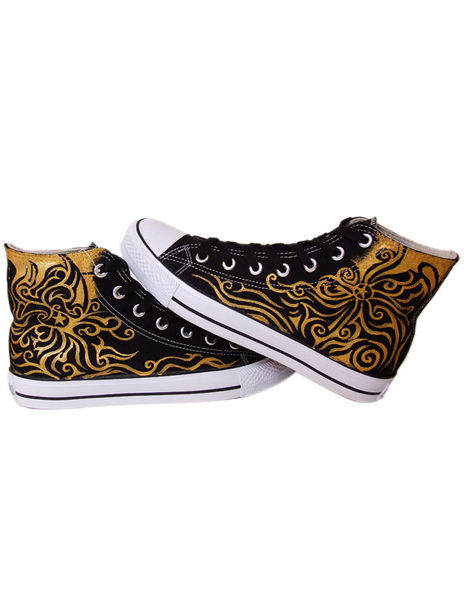 Cool Black Canvas Scrawl Lace Up Rubber Sole Painted Middle Shoes
