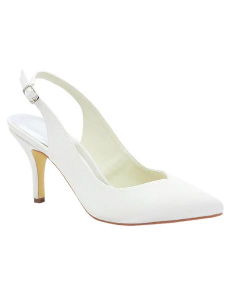 Elegant White Satin Pointed Toe Slingback Bridal Sandals фото