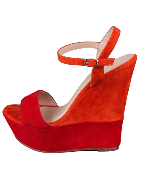 Red Wedge Sandals Suede Women's Ankle Strap Shoes фото