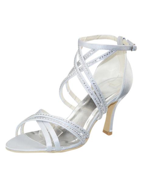 Elegant Stiletto Heel Open Toe Wedding Shoes фото