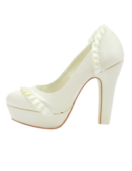 Formal Satin Piping Chunky Heel Bridal Shoes фото