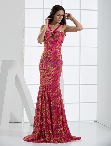 Glitter Red Sequined V-Neck Ladies Evening Dress