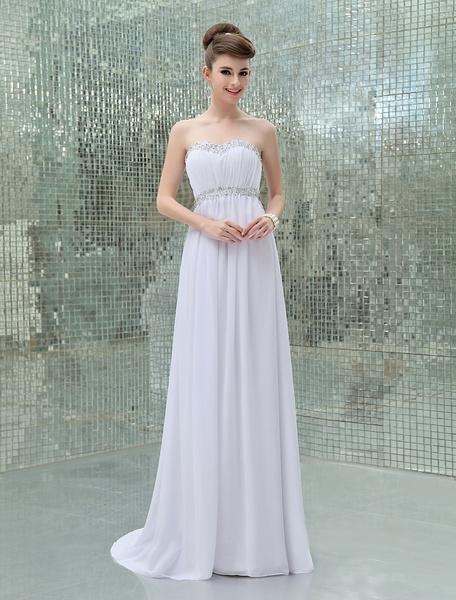 Fantastic White Sheath Beading Chiffon Bridal Wedding Dress фото