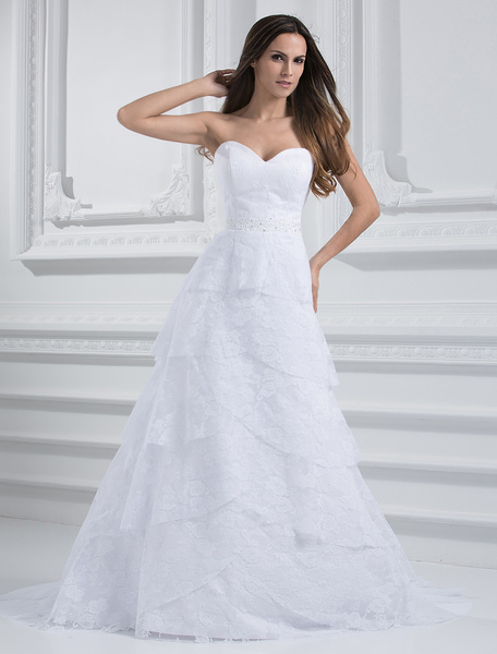 Chic White A-line Sweetheart Neck Sequin Lace Wedding Dress фото