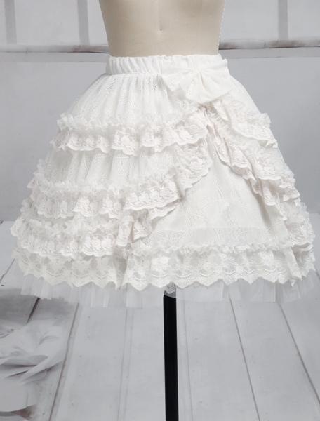 Pure White Lace Lolita Short Skirt Lace Trim Ruffles фото