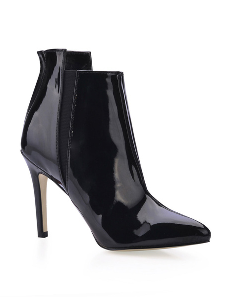 Black Pointed Toe Asymmetrical Trim Patent Woman's High Heel Booties