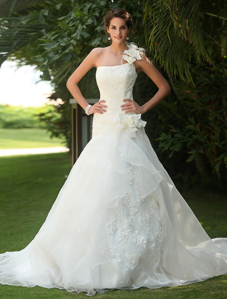 White One-Shoulder Lace Up Flowers Satin Organza Backless Wedding Dress фото
