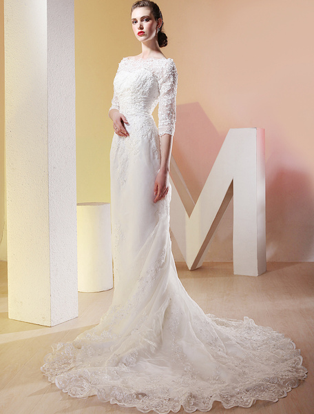 White Satin Three Quarter Sleeves Floor Length Luxury Wedding Dress